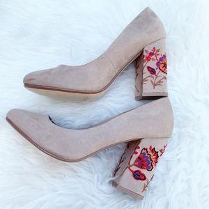 Restricted Floral Embroidered Block Heel Tan 8.5